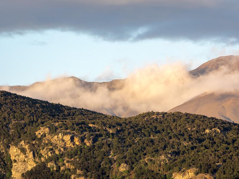 Morning Fog Moving through Gap in Mountains, Wanaka NZ