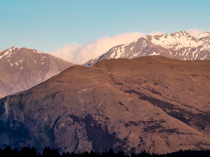 Early Morning Mountain Scene with Retreating Fog, Wanaka NZ