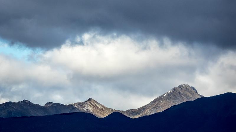 Mixed Light on Mountain Ranges under Dark Sky, Southland NZ