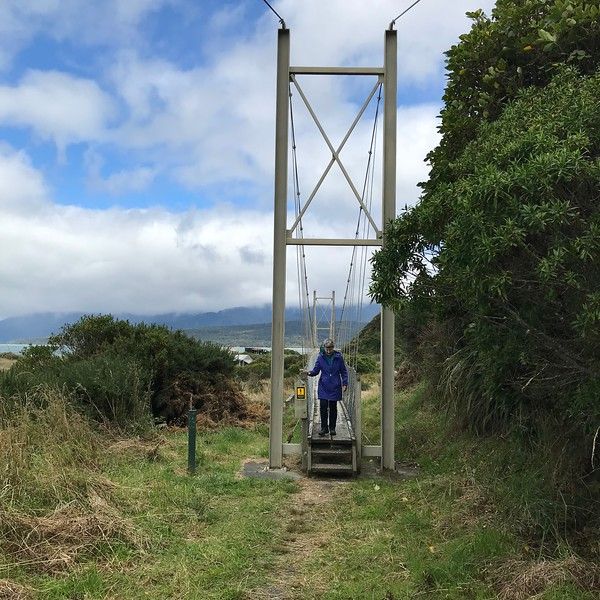 2018-02-22 - 02 Waikoau River suspension bridge and Rosemarie Oliver in NZ
