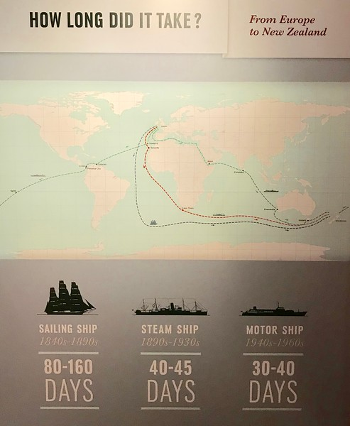 2018-02-15 - 17 NZ Maritime Museum 03 - How long it took to travel from Europe to NZ