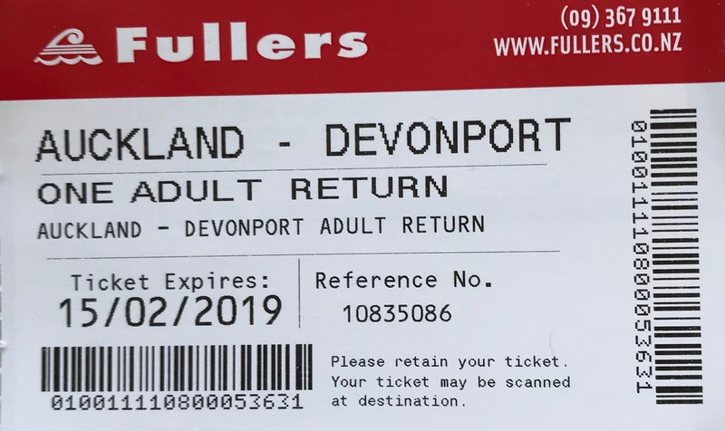 2018-02-15 - 26 Ferry ticket from Auckland to Devonport, NZ