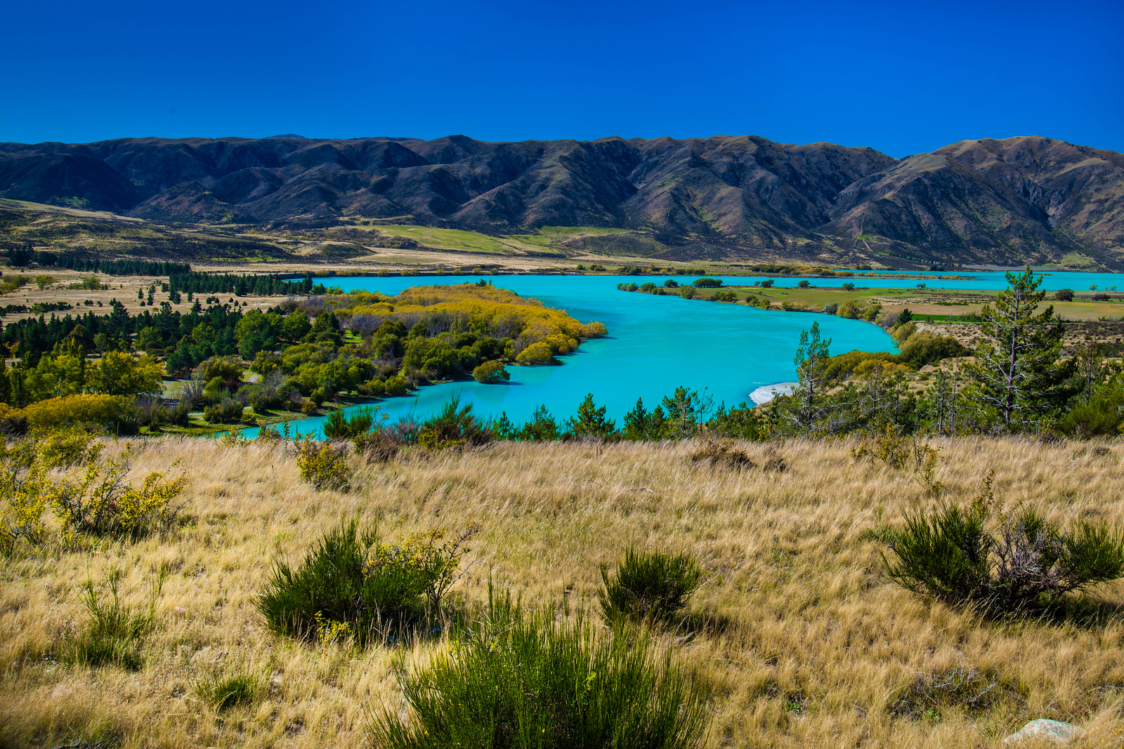 The turquoise glacial waters of the South Island, New Zealand