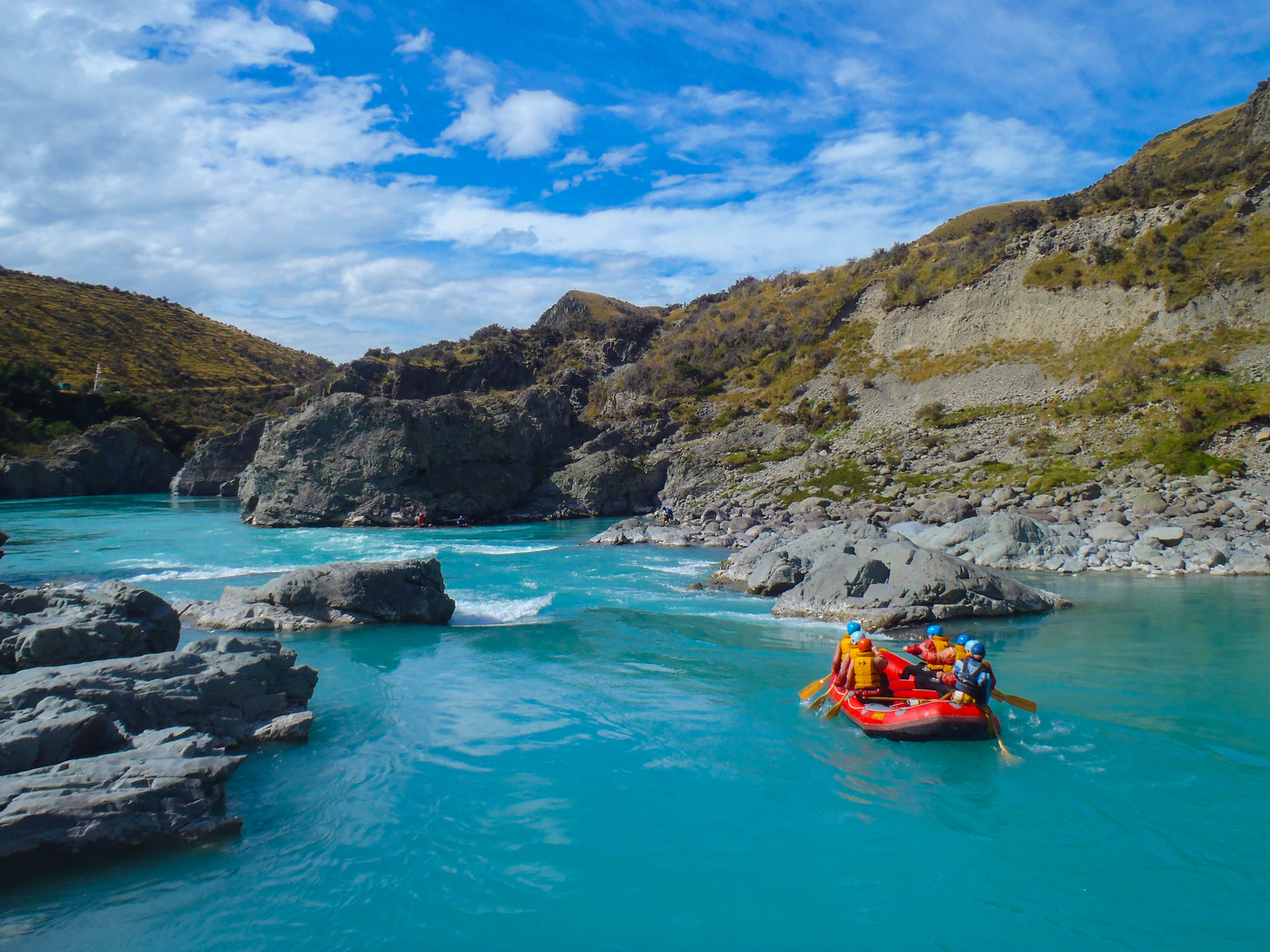 Rafting the Rangitata River in New Zealand.