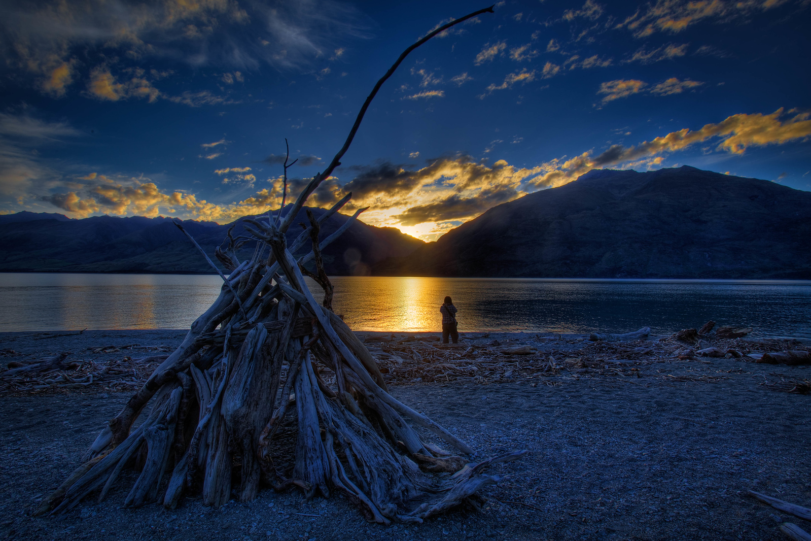 Taking a moment to enjoy the sunset on the South Island of New Zealand.