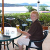 Mum enjoying a beer in the garden bar at the Masonic, looking out over the Hokianga Harbour.