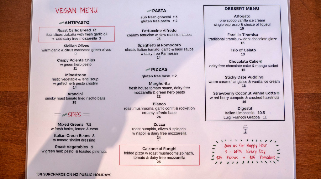 Queenstown Vegan Restaurants: Farelli's Trattoria Vegan Menu