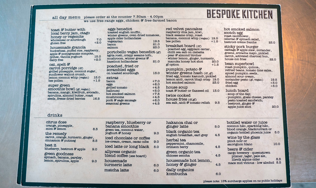 Queenstown Vegan Restaurants: Bespoke Kitchen Menu