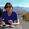 Robyn enjoying coffee at Mt. John in Tekapo.