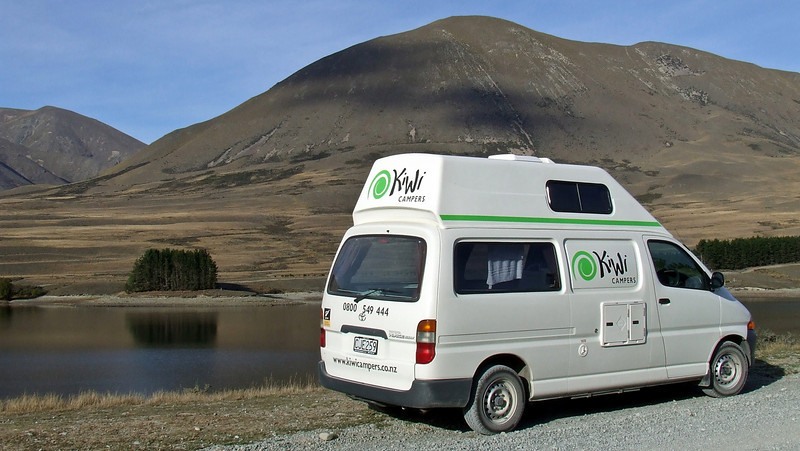 Our van stopped at Lake Camp on the way to Erewhon.
