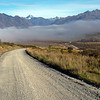 Morning fog on the road in to Erewhon. This area is part of the Hakatere Conservation Park.