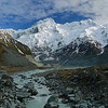 Mt.Sefton and the Mueller Glacier lake at Mt.Cook National Park