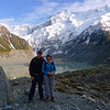 Russell & Robyn near the Mueller Glacier lake on the Hooker Valley track.
