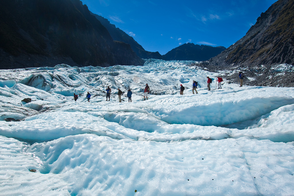 tour group walking on fox glacier new zealand