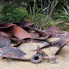 Old propellers from whaling chase boats at the old whaling base.