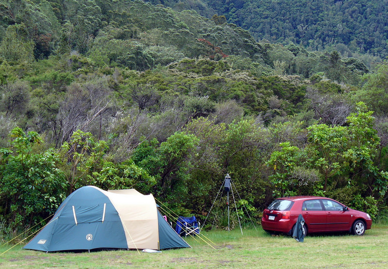 Our campsite at the DOC camp at the Tarawera outlet.