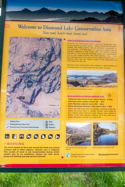 Diamond Lake Conservation Area information sign and map - Hiking in Wanaka New Zealand
