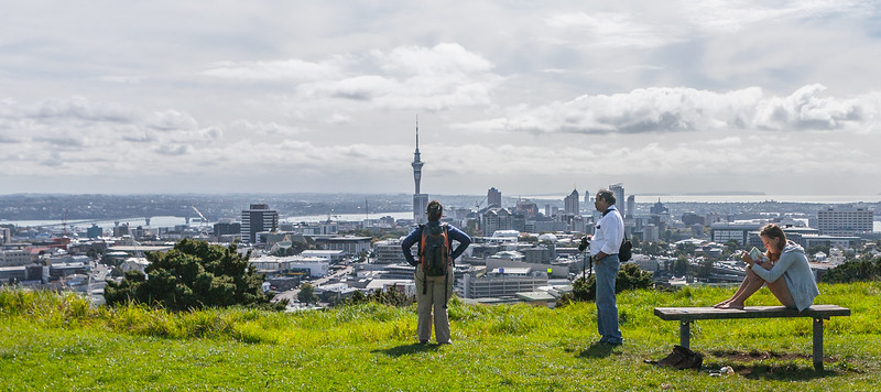 View of the Skytower from Mt Eden in Auckland, New Zealand