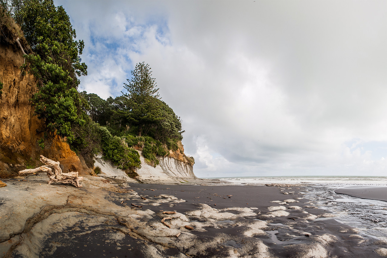 Black sand beach, Waiiti, New Zealand