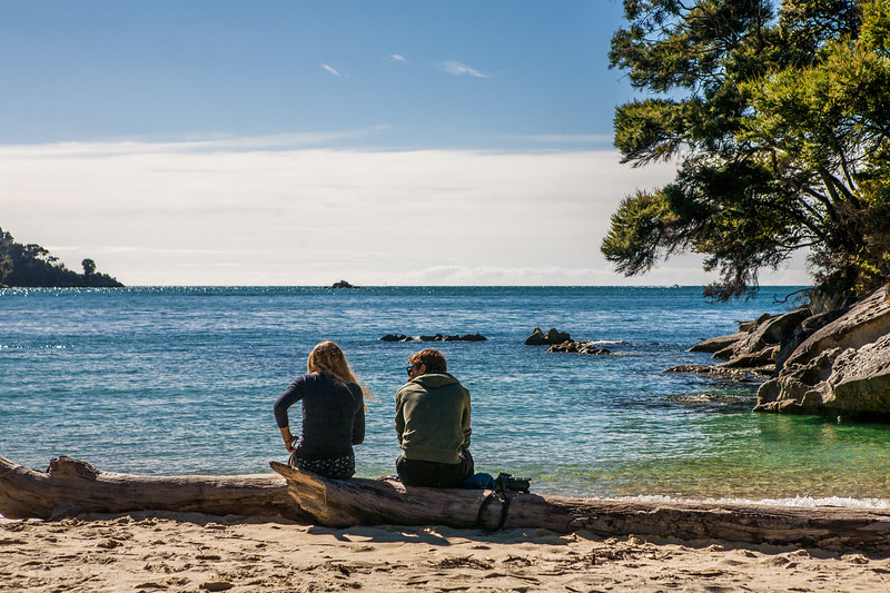 A couple resting on a log at Medlands Beach, Abel Tasman National Park, New Zealand
