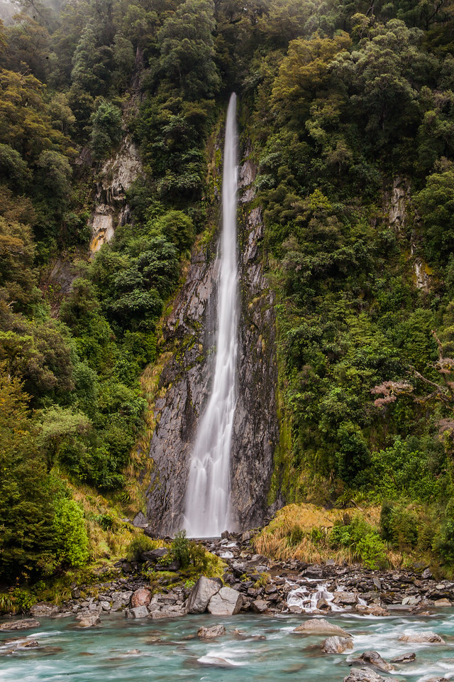 Waterfall enroute Wanaka, West Coast, New Zealand