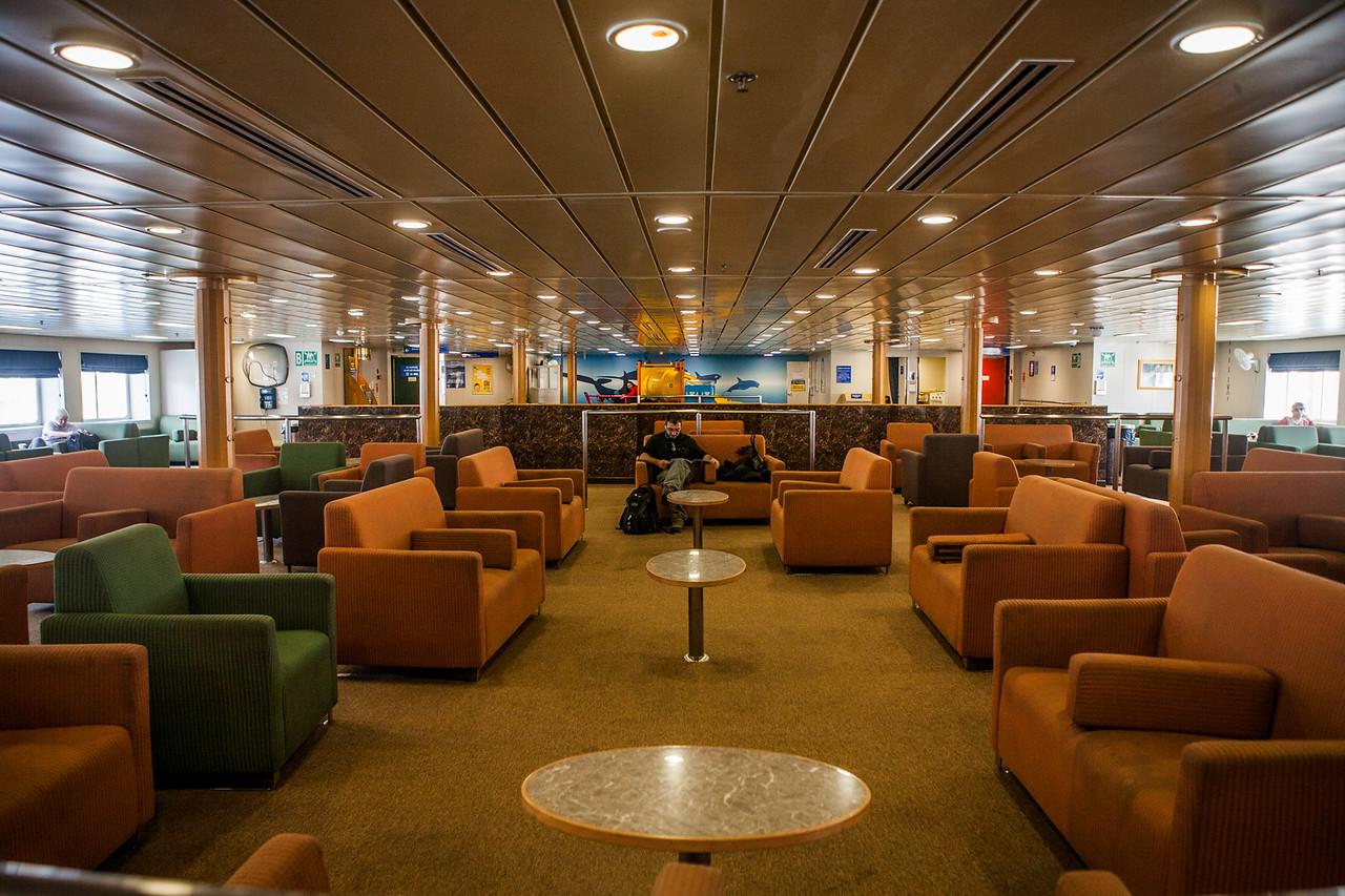 Inside the interislander ferry from Picton to Wellington, New Zealand