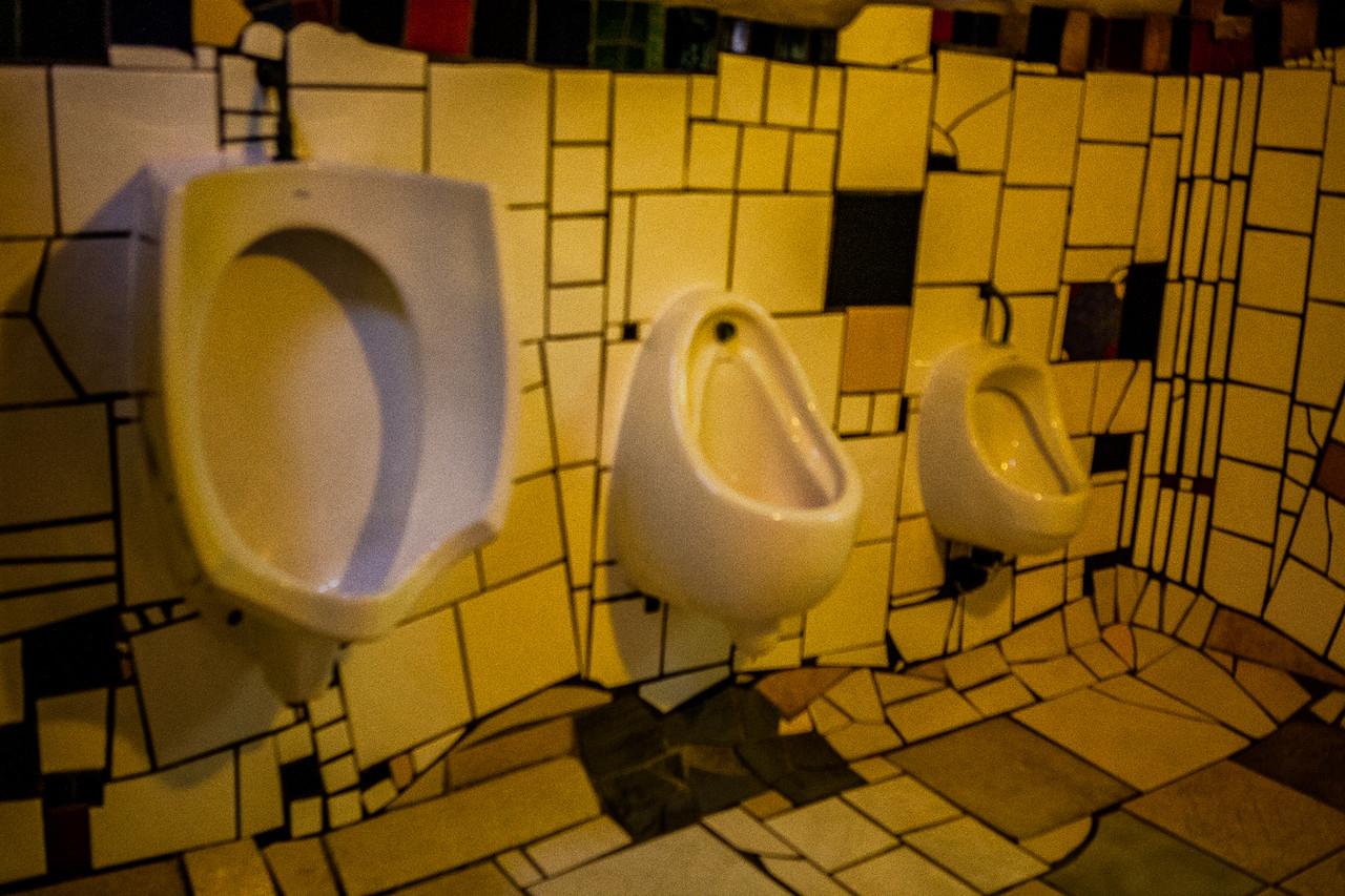 The toilet, designed by Hundertwasser at KawaKawa, New Zealand