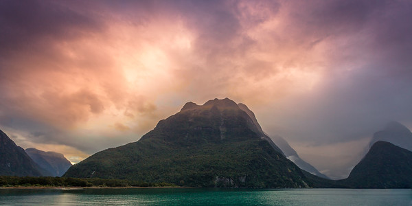 Breaking Fog and Light, Milford Sound Sunset