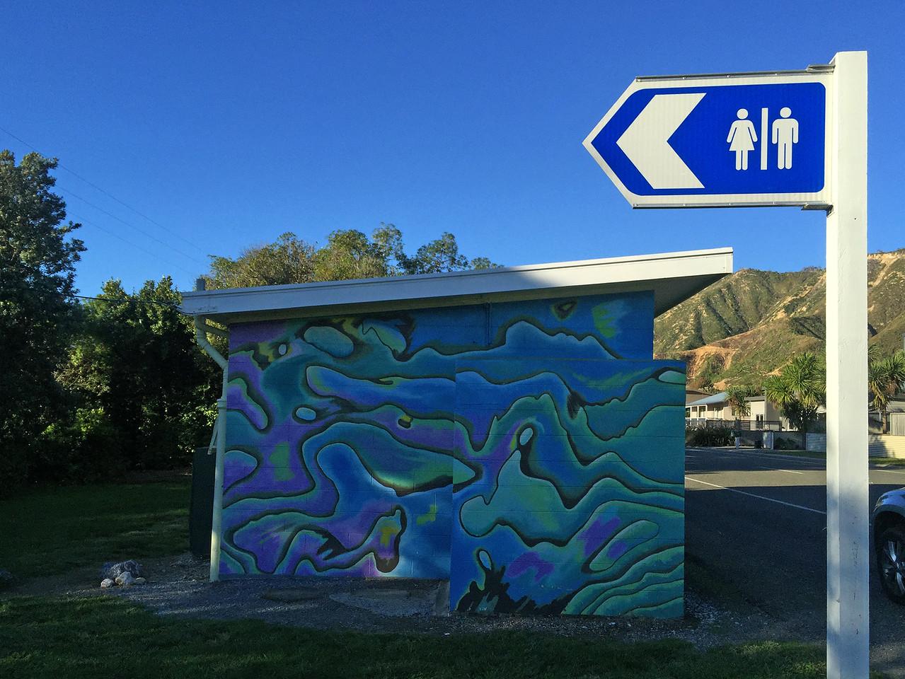 Public toilet at Tata Beach - Tarakohe, New Zealand