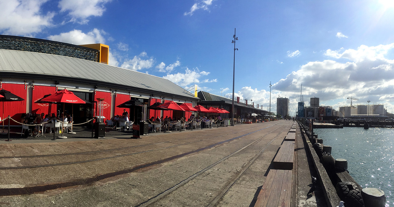 Restaurants next to waterfront at Viaduct  in Auckland, New Zealand