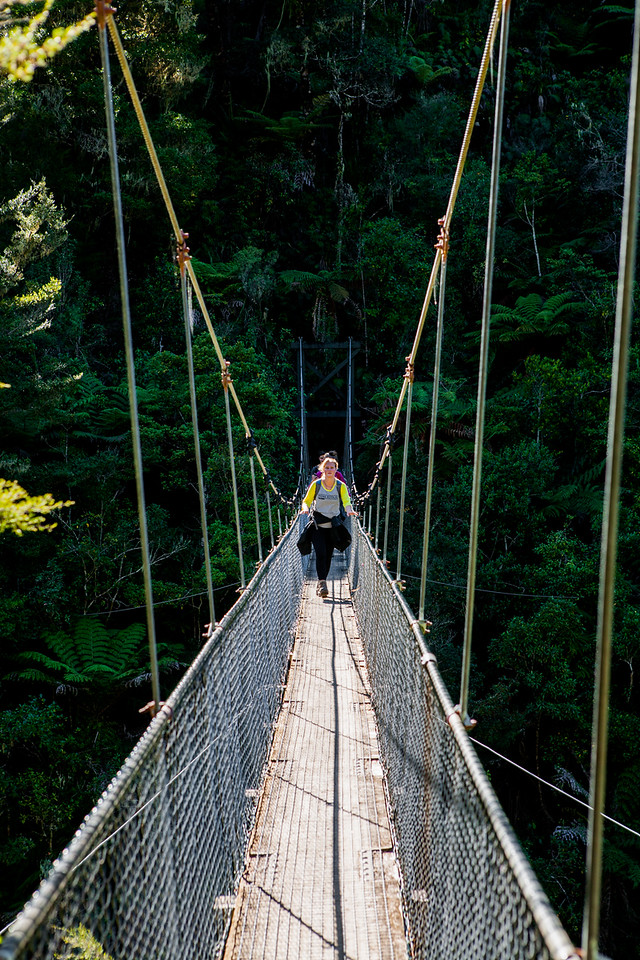Falls River swinging bridge, New Zealand