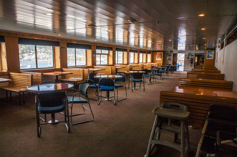 Inside the interislander ferry from Picton to Wellington, New Zealand