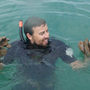 Diver (Ian McLeod) holding Green Lipped mussels