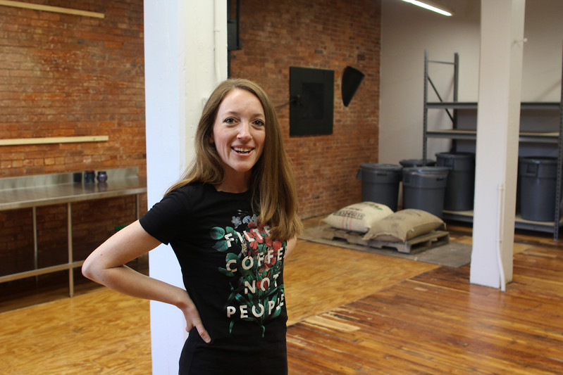 Lynn, Ma. 5-16-17. Rachel Bennett in the open space that will become her new coffee shop on the first floor of the Lydia Pinkham building at 271 Western Ave. in Lynn.