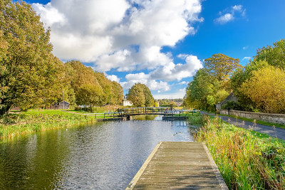Autumn Colours on the Forth & Clyde Canal Swing Bridge Scotland.