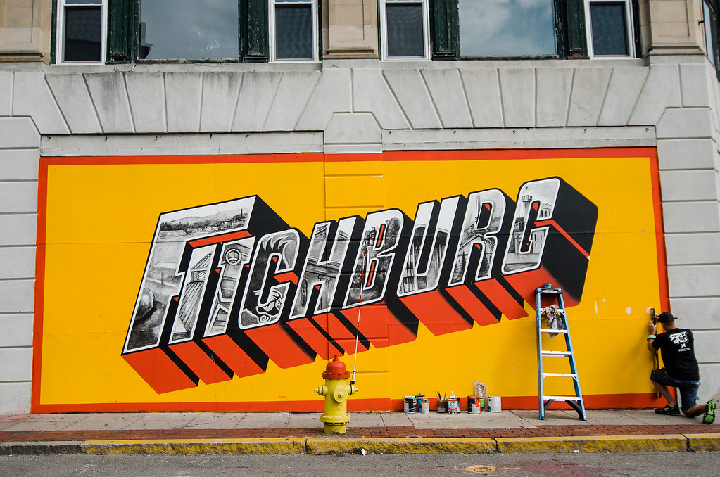 . Local artist Jon Allen, in connection with New Vue Communities and Fitchburg Pride, has created a new mural on the corner of Main Street and Prichard Street in Fitchburg. SENTINEL & ENTERPRISE / Ashley Green