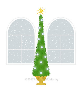 Christmas Tree With Palladian Windows on a White Background