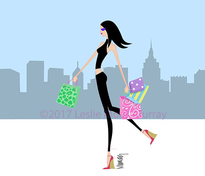 Chic Girl Walking With Shopping Bagsin the City