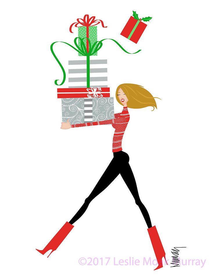 Pretty Young Woman With an Armload of Christmas Presents