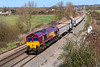 5th Apr 201:8:  66060 at Didcot North Junction working 6C58 the 11.55 Oxford Banbury Road to Whatley Quarry.  This loco has beeen on stone workings from The Somerset quarries for some time.