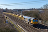 12th Feb 2018:  Coming off the East Chord at Didcot is 66728 atthe helm of 6M26.  The JNAs are being taken to Mountsorrel for a refill of ballast to top up the virtual quarry at Eastleigh