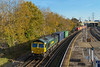 17th Nov 2017:  The Leeds to Southampton Maritime (4O90) powered by 66569 is about to run into the Millbrook terminal where it was immediately started to be unloaded