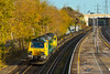 17th Nov 2017:  A surprise and for me an unusual working was  70014 with a rake of container flats from  Freightliner's Hunslet Yard about to go into the Millbrook terminus.  The workings code was 4O90.
