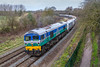 14th Mar 2018:  With the Berks & Hants line through Newbury closed due to Electrification works diversions are in place.  6C31, in the hands of 59002 'Alan J Day', is running between Theale and Whatley Quarry diverted to use the Wilts Somerset & Weymouth line between Chippenham and Westbury.  The picture is captured just south of Bradford Junction as it passes through Ladydown in Trowbridge