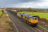 16th Mar 2018:  Diverted again onto the Wilts Somerset & Weymouth line due to over running engineering work on the Berks & Hants line 66749 is hauling 6V42 from Wellingborough to Whatley Quarry