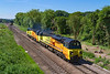 11th Jun 2018:   Colas pair 70807 & 70812 are leaving Westbury 40 minutes early as they head for Cardiff Canton Sidings