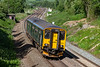 14th Jun 2018:  GWR 150244 forming 2E26 the 13.08 from Weymouth to Gloucester is approaching Blatchbridge Junction.  It will take the line divering to the left  enabling it to make the scheduled stop at Frome station.