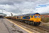 """20th ar 2018:  At last I have a picture of 66777 'Annette"""" that completes my set of all the original GBRf sheds.  Only the DBC imports to get now.  it is seen as it leaves Westbury with 6M40 to Stud Farm.  A lamp post has been cloned from the shot"""