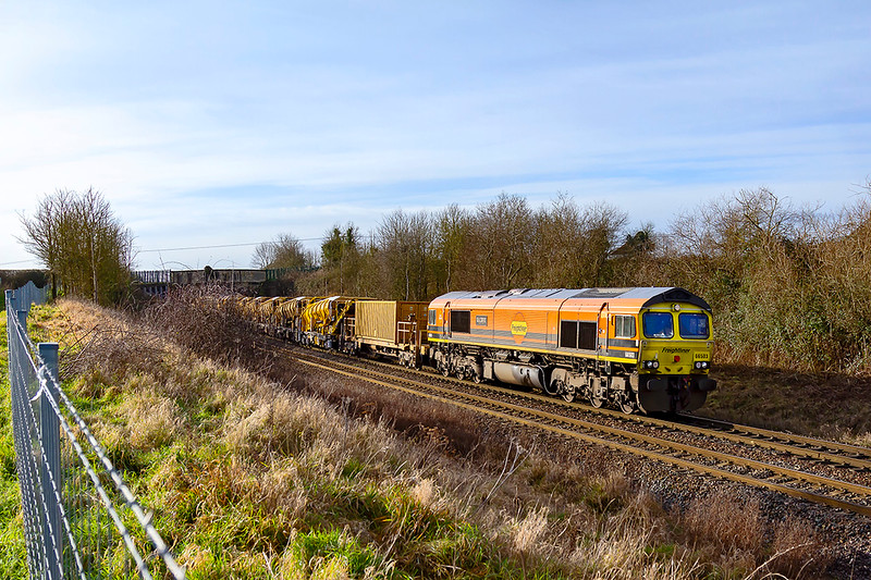 17th Jan 2021:  The appearance of 66503 leading on 6C20 from Oxford to Fairwater was totally unexoected at Hawkeridge when i was waiting for a train coming the other way.  In fact it. was  using the triangle  to reverse the train so I was able to get it again as it returned from Bradford Junction.  An added bonus on the morning stroll down a muddy field foot path.