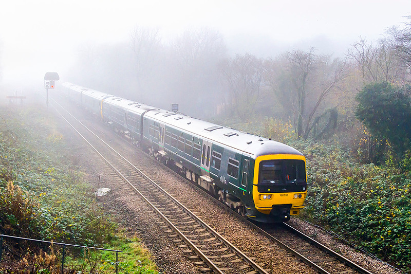 26th Nov 2020: On a cold and misty morning 165132 is leading on 1F16 the 11.23 from Portsmouth Harbour ro Cardiff at Hawkeridge Junction. Why do it? well because I could and it makes a change from sun or rain.